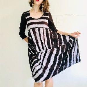 LAUREN VIDAL Black and Gray Striped Crinkle Dress